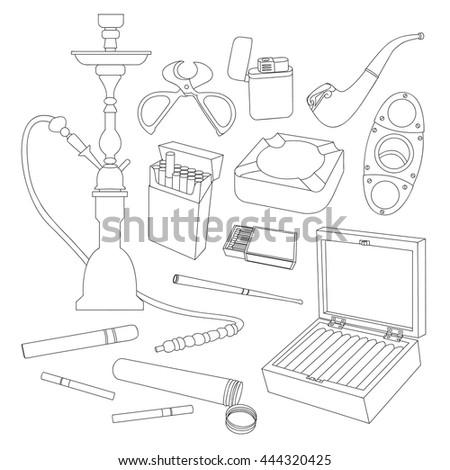 Tobacco And Smoking Sketch Set. Hand Drawn Cigarettes, Cigars, Hookah, Matches, Leaves, Ceremonial Pipe And Accessories - stock photo