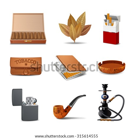 Tobacco decorative realistic icon set with cigars cigarette pack ash tray isolated  illustration - stock photo