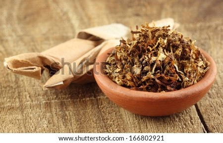Tobacco for making cigarette on a small bowl close up - stock photo