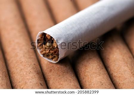 Tobacco in cigarette on dark cigarettes close up - stock photo