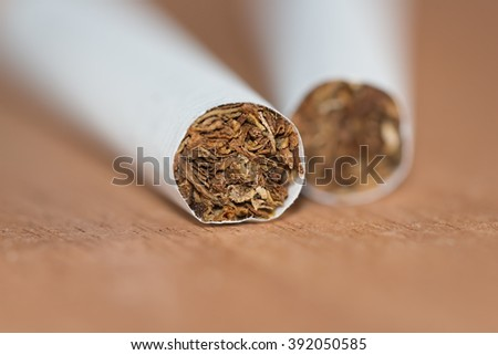 Tobacco in the cigarette, lying on a wooden table. Closeup photo with selective focus