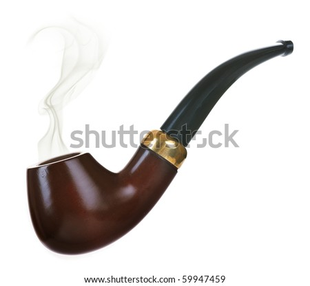Tobacco pipe isolated on white - stock photo