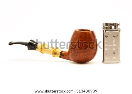 Tobacco pipe on a white background with cigarette lighter