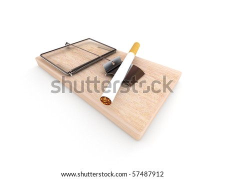 Tobacco trap. Mousetrap with cigarette isolated on white background. High quality 3d render. - stock photo
