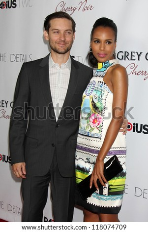 """Tobey Maguire, Kerri Washington at """"The Details"""" Los Angeles Premiere, Arclight, Hollywood, CA 10-29-12 - stock photo"""