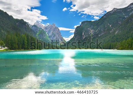 Toblach lake in the Dolomites in Italy, Europe