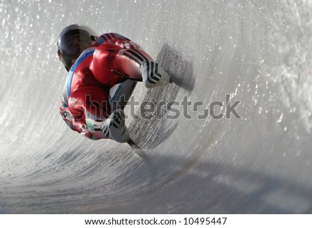 Toboggan in Sigulda, Latvia, World championship - stock photo