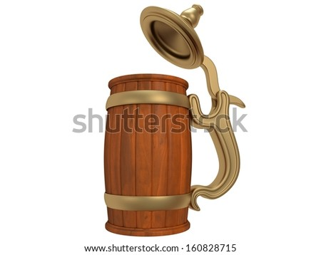 Toby jug isolated on white. 3d render. Beer, pub, Oktoberfest concept - stock photo