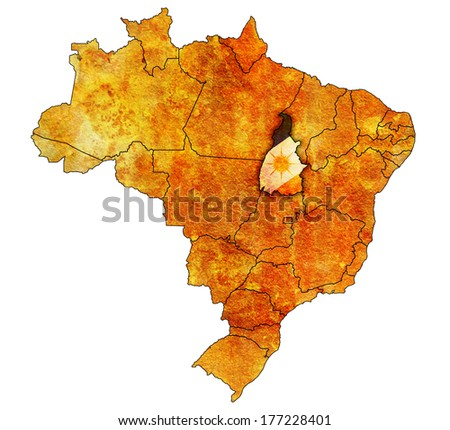 tocantins on administration map of brazil with flags - stock photo