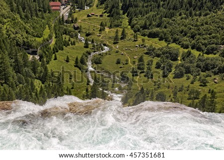 Toce's Waterfall , in formazza val, in July 2016 Piedmont Italy