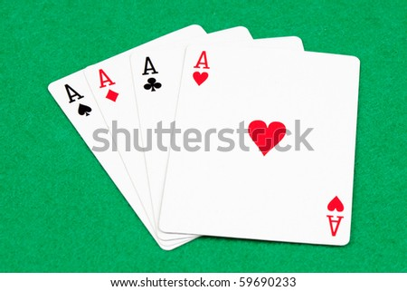Today I have good hands. Poker of aces - stock photo