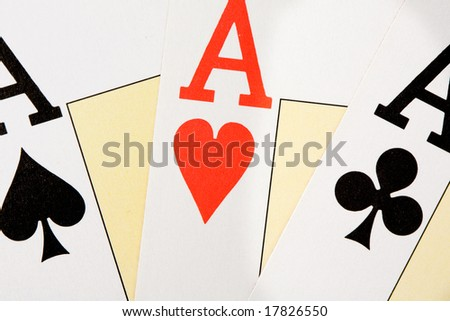 Today I have good hands. Three aces for poker - stock photo