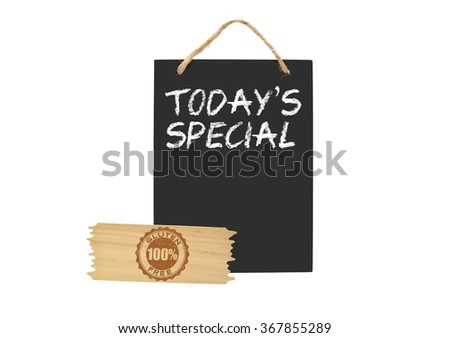 Today's Special Blackboard with 100% Gluten Free wood sign isolated on white background - stock photo