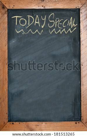 Today special written on chalkboard. concept photo of food and drinks - stock photo