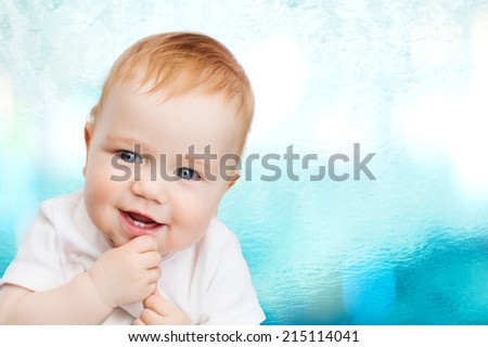 toddler and child concept - smiling little baby - stock photo