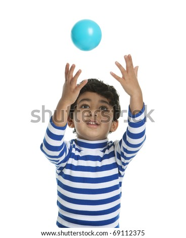 Toddler attempting to catch a Ball, Isolated, White - stock photo