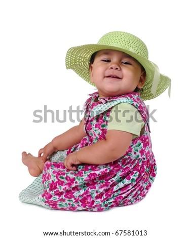 Toddler baby girl in pretty flowery summer dress - stock photo