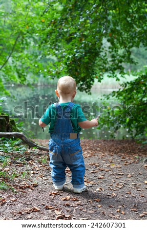 toddler boy having fun in a beautiful summer forest