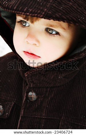 Toddler Boy in Winter Coat - stock photo