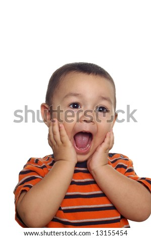 Toddler boy with a funny surprised or shocked expression - stock photo