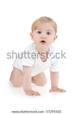 Toddler crawler on all fours on white background.