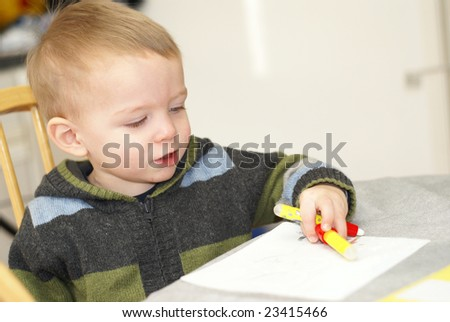 toddler drawing - stock photo