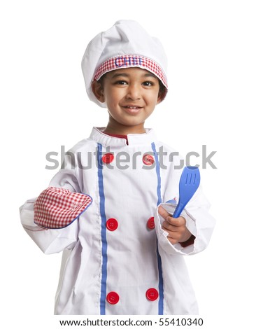Toddler Dressed as a Little Chef holding a Spatula and Oven Mitt, isolated, white - stock photo