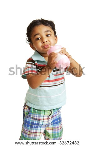 Toddler Drinking Water from a Sippy Cup on White - stock photo