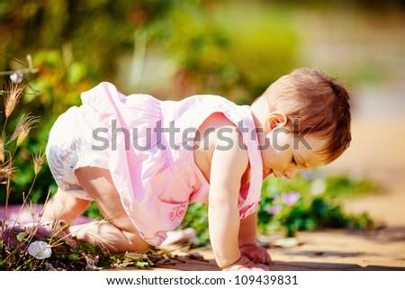Toddler girl in summer green park outdoor - stock photo
