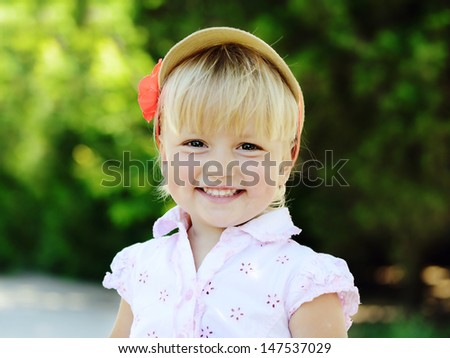 toddler girl in summer time - stock photo
