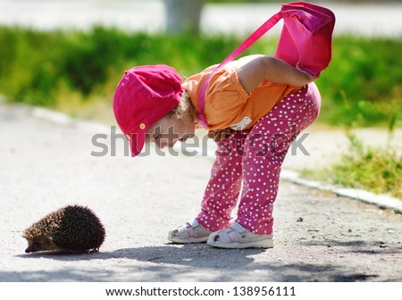 toddler girl looking at the  hedgehog - stock photo