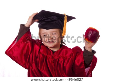 Toddler graduating from preschool - stock photo