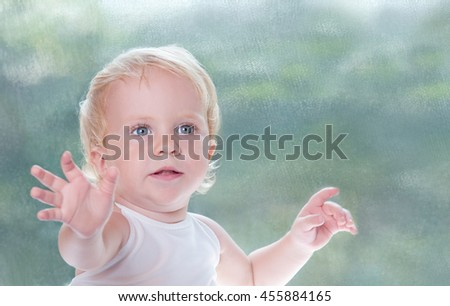 Toddler Healthy Baby Girl stretching hands at camera. Cute Child Portrait over pastel background in studio. Space for text. - stock photo