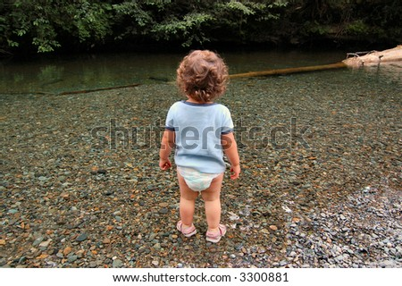 Toddler in pristine creek.  Cathedral Grove National Park.  Canada. - stock photo