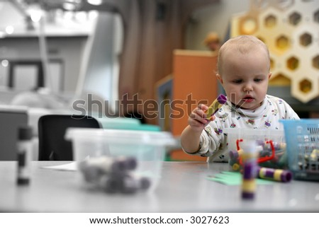 toddler in the kindergarten - stock photo
