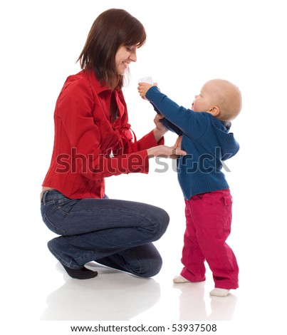 Toddler sharing toy with mother isolated on white - stock photo