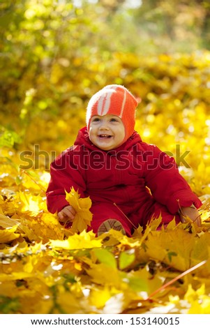 Toddler sitting on maple leaves in autumn park