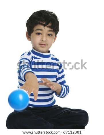 Toddler Throwing a Ball at the Viewer, Isolated, White - stock photo