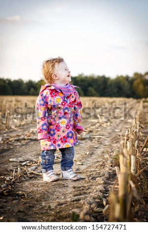 Toddler walking on the stubble field