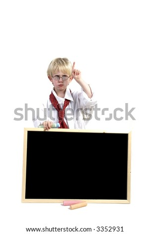 Toddler with black-board for you to write on! - stock photo