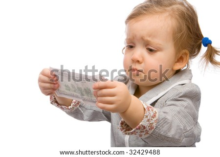 Toddler with dollar banknote, looking extremely disappointed - stock photo