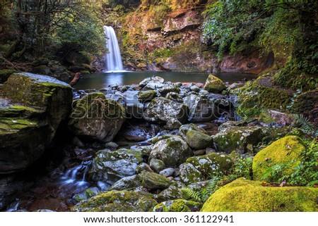 Todoroki waterfall in Isahaya, Nagasaki, Japan - stock photo