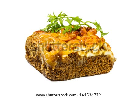 Toffee cake on white background