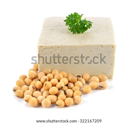 Tofu and soybeans on white background.   - stock photo