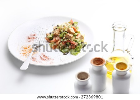 Tofu and vegetables salad, olive oil and spices isolated on white ...