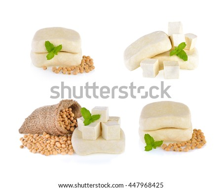 tofu cubes and soybean on white background - stock photo