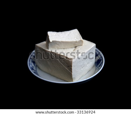 Tofu in black and white background