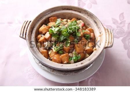 tofu in claypot - stock photo