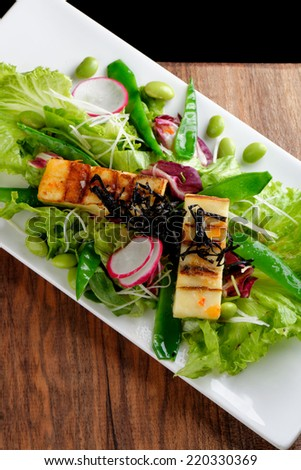 Tofu salad with varieties of vegetables  - stock photo