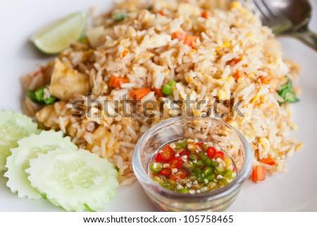 Tofu,vegetable fried rice and fish sauce,Thai menu - stock photo